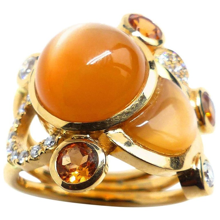 Moonstone Diamond Mandarin Garnet 18k Rose Gold Ring