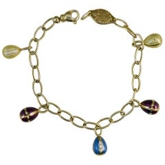 Faberge Easter Egg Charm Bracelet, Gold, Enamel, 0.18 Carat Diamonds, Boxed