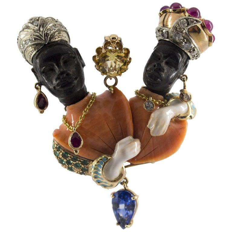 10.0 Carat Emerald Ruby Sapphire Coral Diamond Twins Moors of Venice Pendant