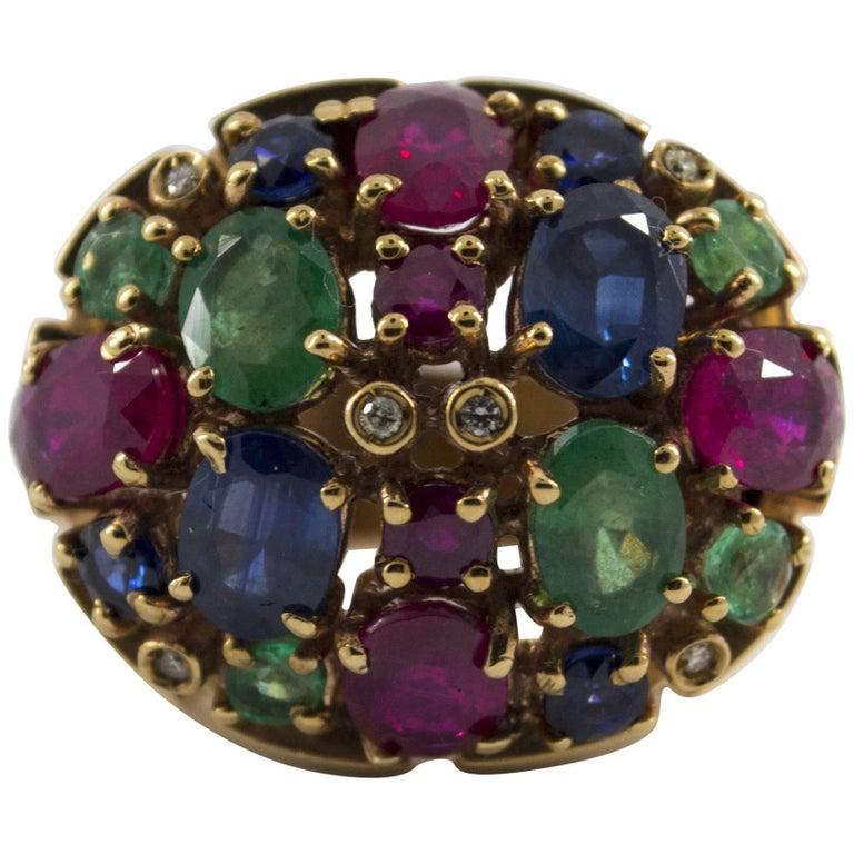 10 Carat Emerald Ruby Sapphire Diamond Yellow Gold Cocktail Ring