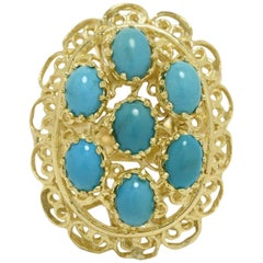 Persian Turquoise Cocktail Ring Statement Brutalist 1960s Yellow Gold Cluster