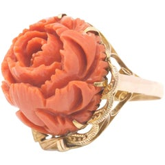 Retro Red Coral Cocktail Ring Statement Rose Carved Peony Flower Yellow Gold