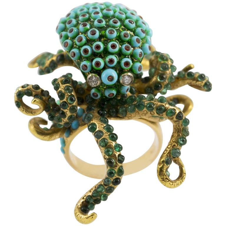 3.80 Carat Emerald Turquoise Garnet Diamond Yellow Gold Octopus Cocktail Ring For Sale