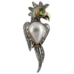Mabe Pearl Emerald Diamond Yellow Gold Parrot Brooch