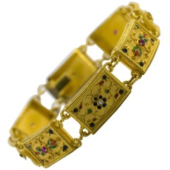 Enamel Ruby Diamond Yellow Gold Etruscan Style Bracelet