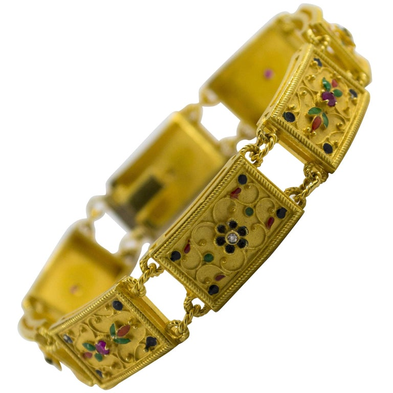 Enamel Ruby Diamond Yellow Gold Etruscan Style Bracelet
