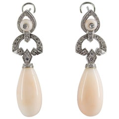 Renaissance Pink Coral 0.90 Carat White Diamond White Gold Drop Clip-On Earrings