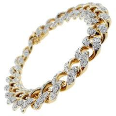 Park Place Antique Jewelry Classic Diamond 18 Karat Gold Curb Link Bracelet