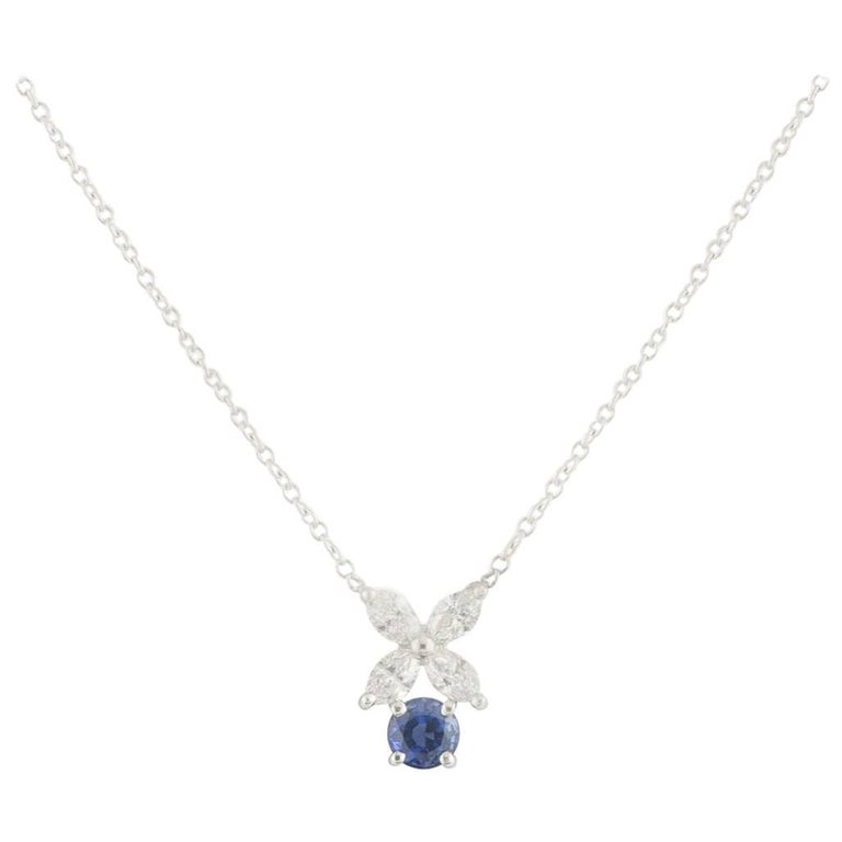 Tiffany & Co. Platinum Diamond and Sapphire Victoria Necklace