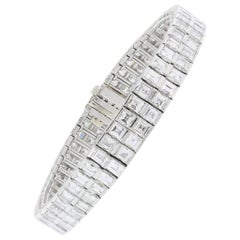 Double Row Diamond Bracelet 25.00 Carat Platinum