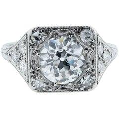 Art Deco 1.34 Carat Diamond Platinum Ring