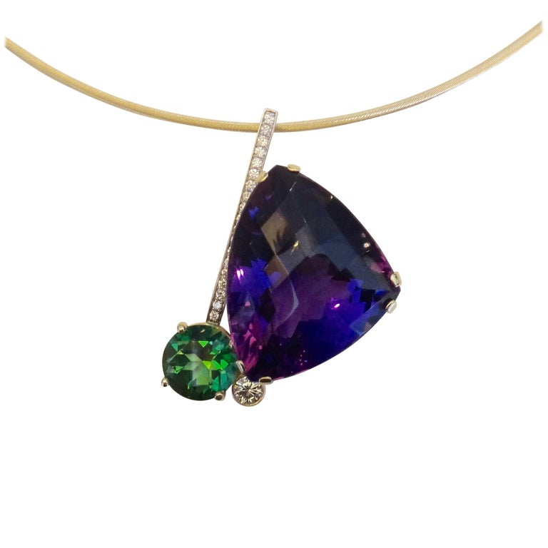 Michael Kneebone Checkerboard Cut Amethyst Green Topaz Diamond Pendant
