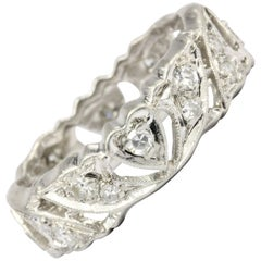 Art Deco Platinum Diamond Heart Motif Eternity Band