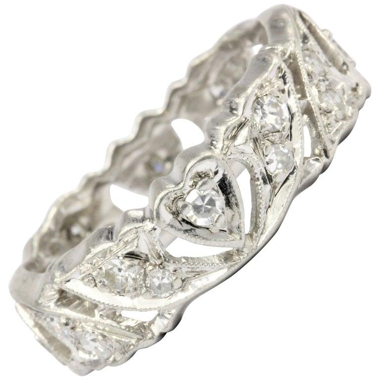 Art Deco Platinum Diamond Heart Motif Eternity Band For Sale