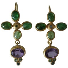 Tsavorite Garnet Amethyst Blue Diamonds 22k -21k Gold Dangle Drop Earrings