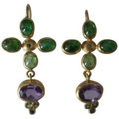 Tsavorite Garnet Amethyst Blue Diamonds 22k -21k Gold Dangle Drop Earrings