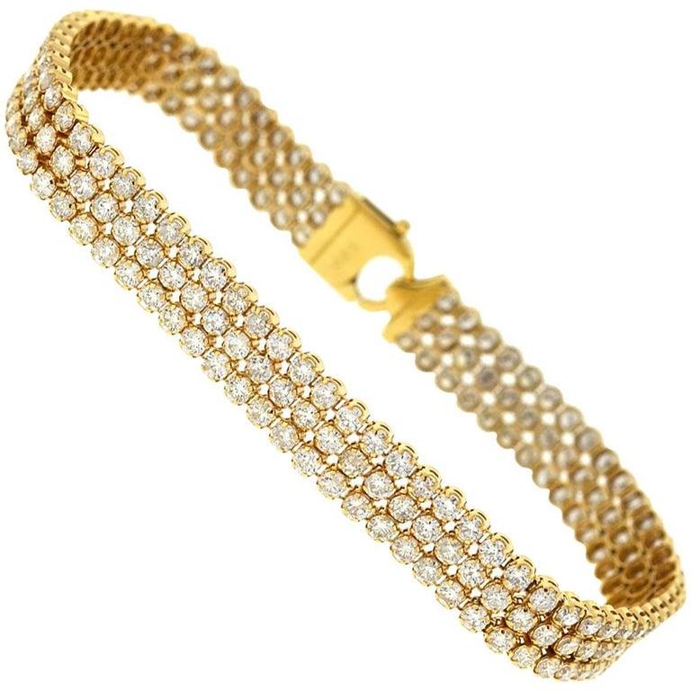 14 Karat Yellow Gold Three-Row Diamond Tennis Bracelet