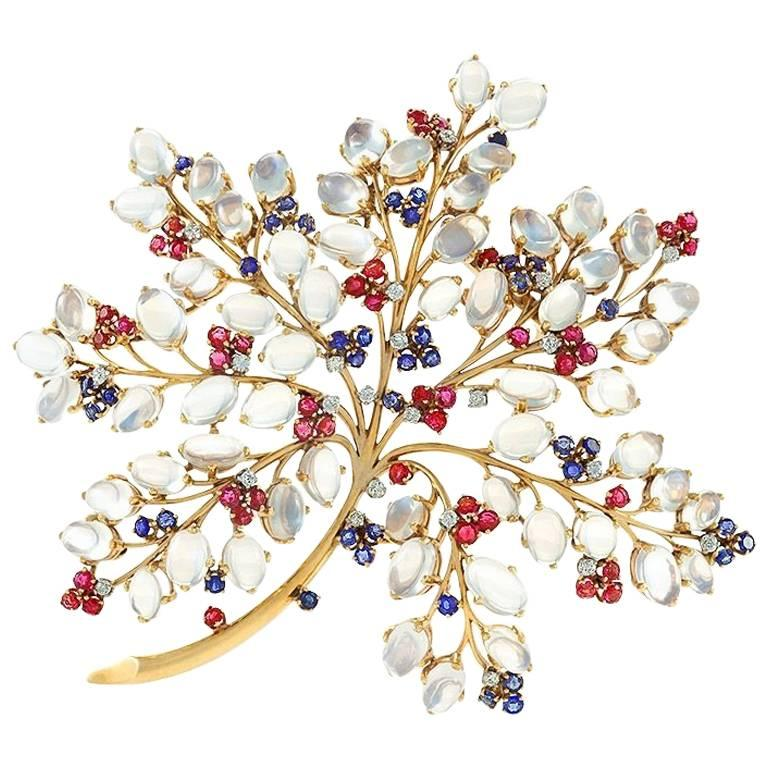 1940s Moonstone Sapphire Ruby Diamond and Gold Flower Brooch For Sale