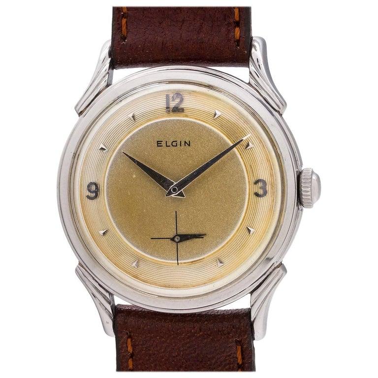 "Elgin Stainless Steel ""LP"" manual wind wristwatch, circa 1950s"