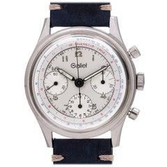 Gallet stainless steel 12H Three Registers Multichron Valjoux manual Wristwatch