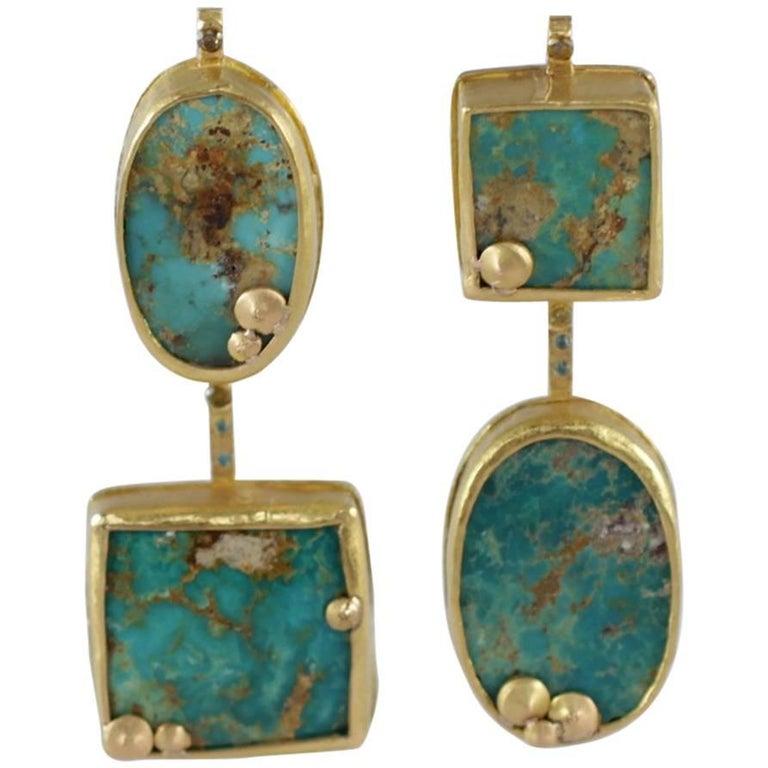 22Karat-21Karat Gold Persian Turquoise and Diamond Earrings Handmade Jewelry