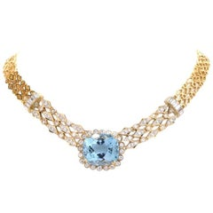 1970s Cushion Aquamarine Diamond Gold Choker Necklace