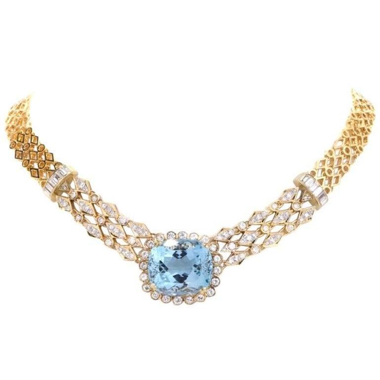 1970s Cushion Aquamarine Diamond Gold Choker Necklace