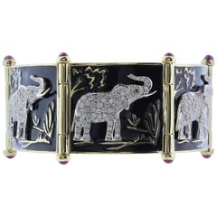 Black Enamel and Diamond Safari Elephant Bracelet
