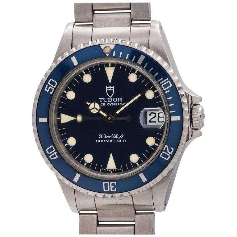 Tudor Stainless Steel Submariner self winding wristwatch Ref 75090, circa  1992