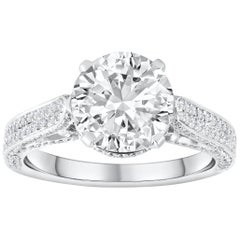 2.75 Carat Round Diamond Pave Engagement Ring