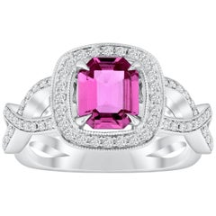 1.12 Carat Pink Sapphire and Diamond Halo Engagement Ring