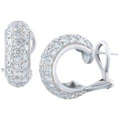 2.58 Carat Total Diamond 3D Huggie Hoop Earrings