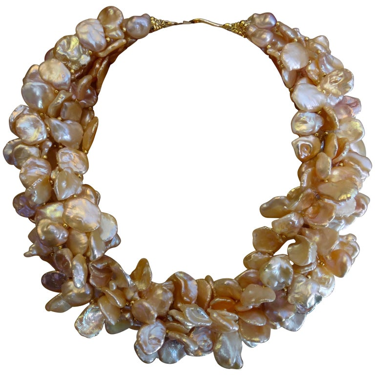 Michael Kneebone Pink Petal Pearl Torsade Necklace