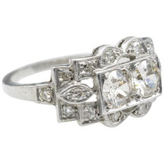 Art Deco Platinum Ring 2 Diamonds You And Me