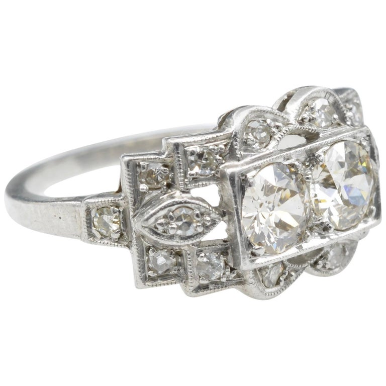 """Platinum and Two Diamond """"You and Me"""" Art Deco Ring"""