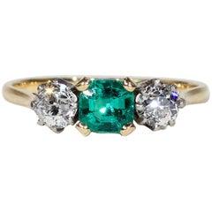 Art Deco Emerald Diamond Engagement Ring