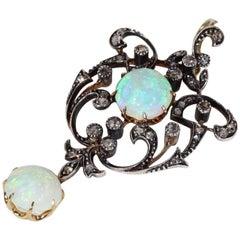 Victorian Opal Diamond Pendant 18 Karat Silver Set