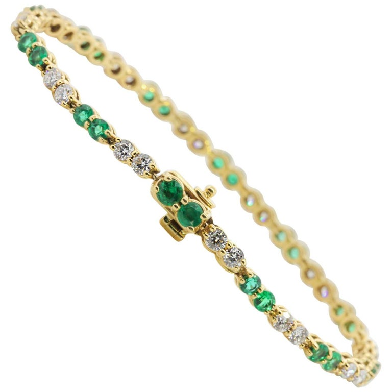 French Emerald and Diamond Bracelet
