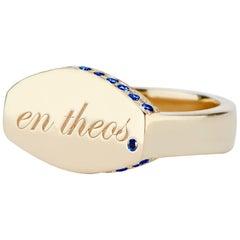 14 Karat Yellow Gold and Sapphire En Theos, Signet Ring