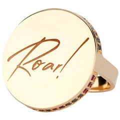 14 Karat Yellow Gold Ruby and Black Diamond Roar, Signet Ring