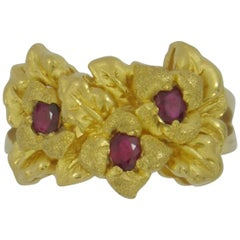 High Karat Gold Floral Design Ring with Rubies