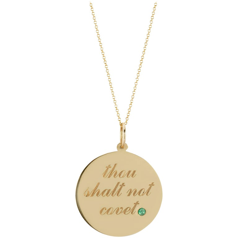 14 Karat Yellow Gold and Emerald Thou Shalt Not Covet, Medallion Pendant