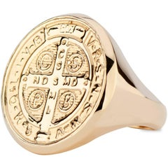 14 Karat Yellow Gold Saint Benedict Signet Ring Cast from Antique Medallion