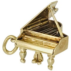 Grand Piano, Charm Handmade Movable Parts of Yellow and White Gold, circa 1950