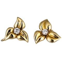 Modern, Leaf Style Earrings with .40 Carat Diamonds, VS Clarity, circa 1950
