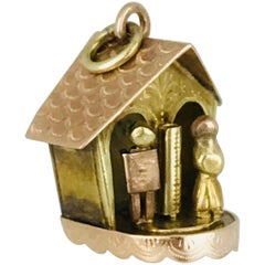 Charm with Movable Figures in House, Pink and Yellow Gold, Handmade circa 1950