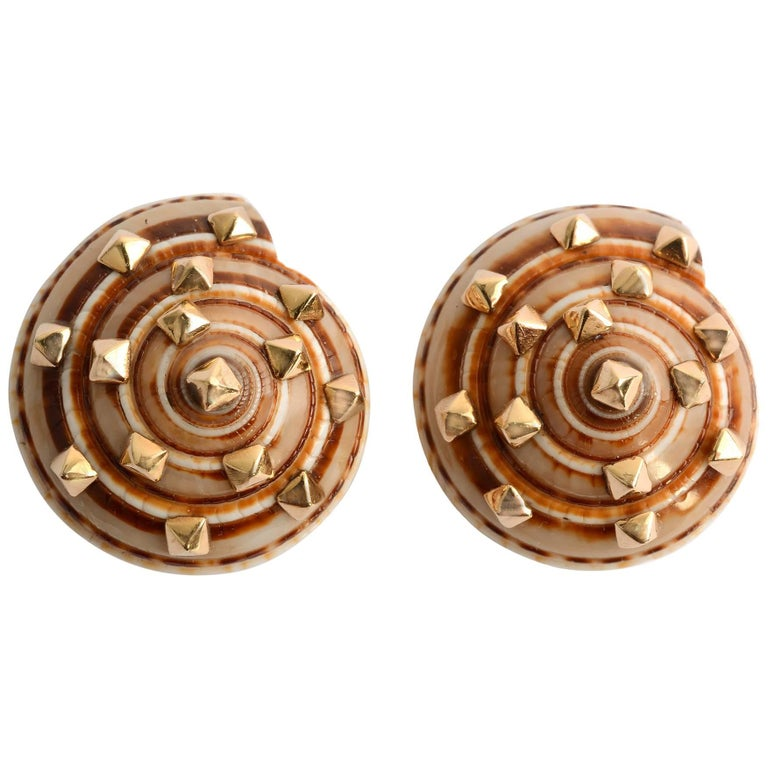 Seaman Schepps Turbo Shell Earrings