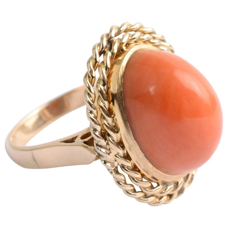 Coral and Gold Ring
