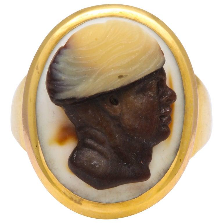Antique Georgian Fine Cameo Ring of a Blackamoor For Sale