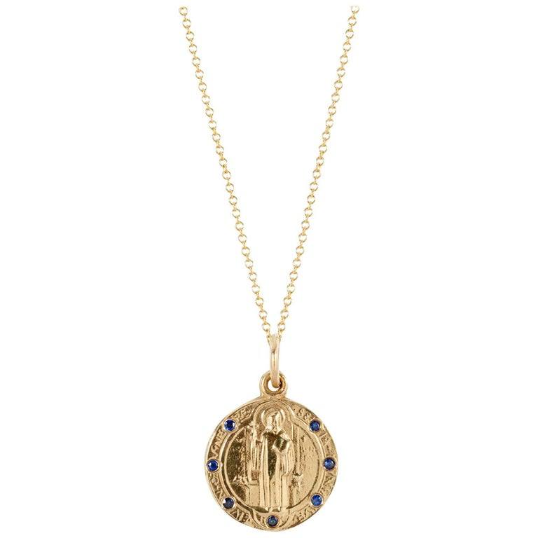 14k Yellow Gold and Sapphire Saint Benedict Medallion Pendant Cast from Antique